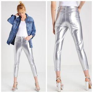 TOPSHOP Moto Jamie Vinyl Silver Jeans